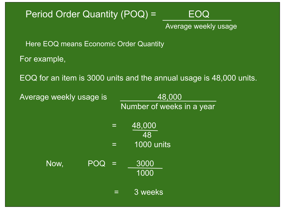 image shows about the calculation of period order quantity