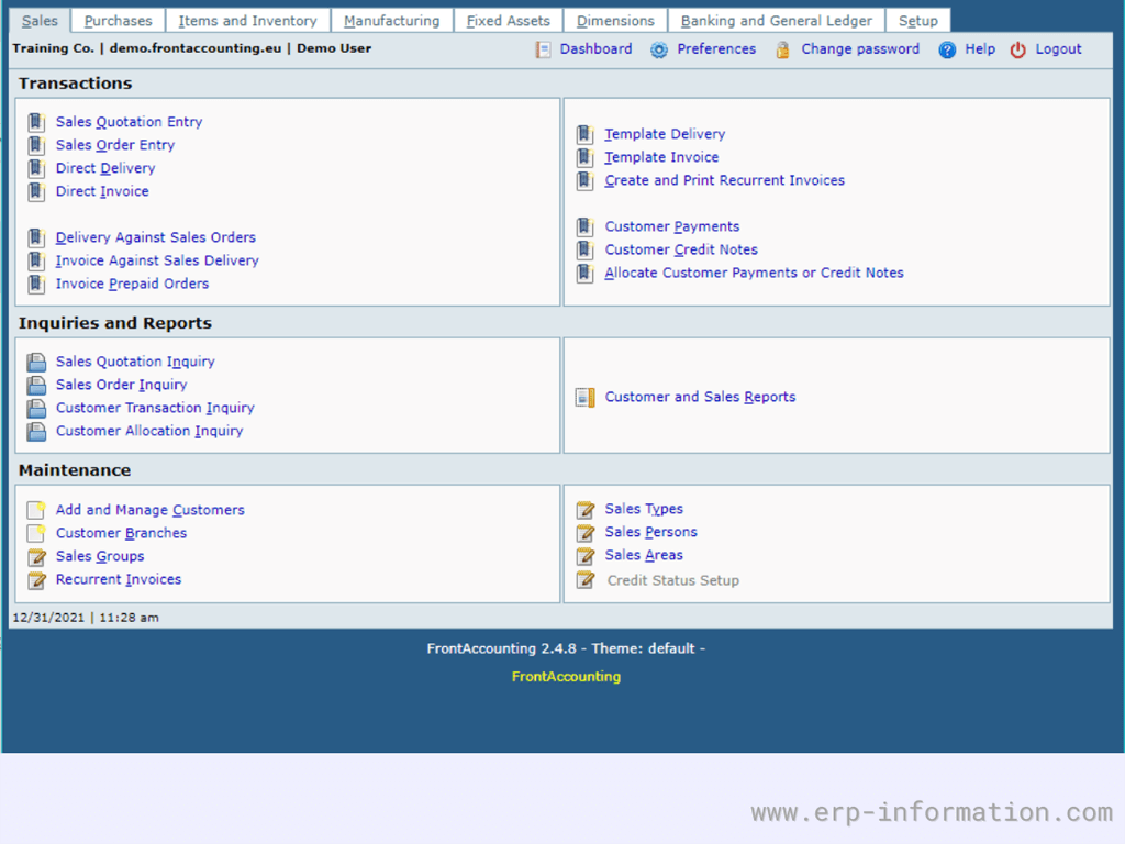 FrontAccounting ERP